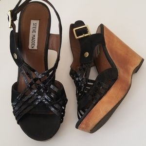 Steve Madden Black Strappy Woven Wedge Sandals